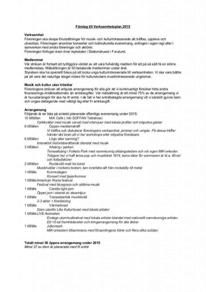 Förslag Verksamhetsplan m budget 2015