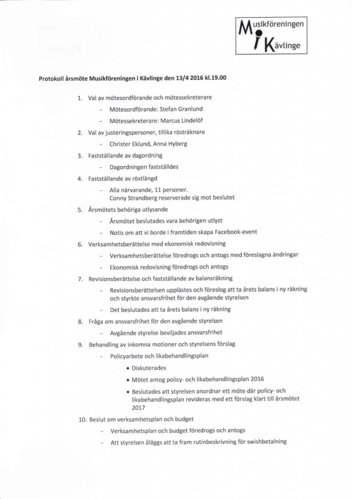 MiK Protokoll Årsmöte 2016
