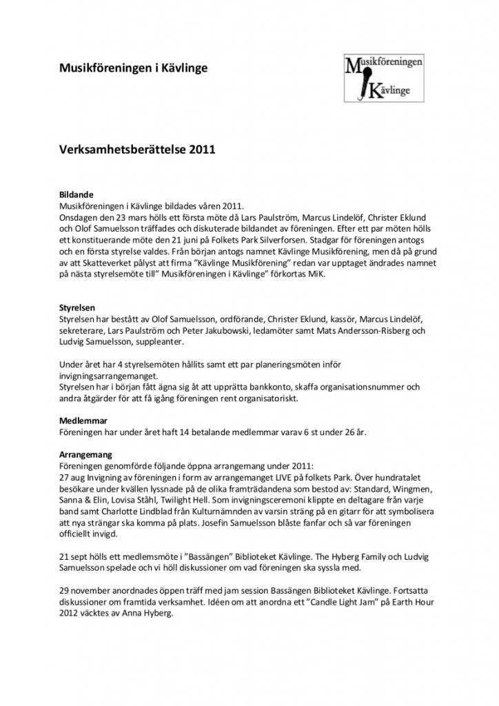 Verksamhetsberättelse 2011