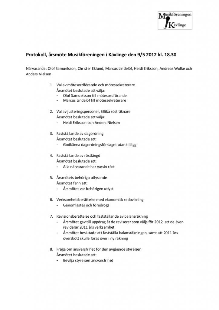 Protokoll årsmöte MIK 20120509