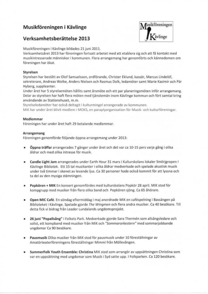 Verksamhetsberättelse och ek redovisning MIK 2013