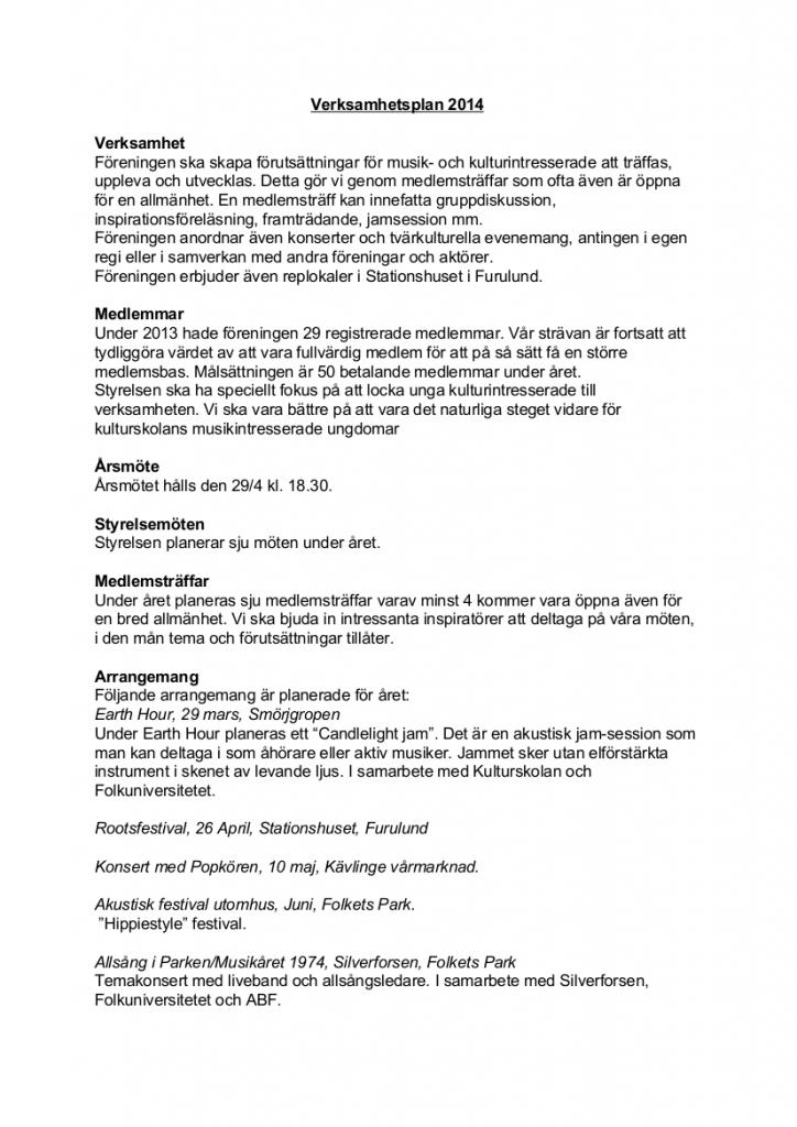 Verksamhetsplan 2014